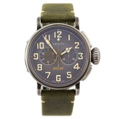 New Zenith Pilot Heritage Cafe Racer 11.2430.4069/21.C773 Automatic Chronograph. Steel 45 mm case. Green nubuck leather strap. Titanium pin buckle