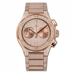 520.OX.9010.OX.3704 | Hublot Classic Fusion King Gold Full Pave 45mm watch. Buy Online