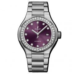 585.NX.897V.NX.1204 | Hublot Classic Fusion Titanium Purple Diamonds Bracelet 33 mm watch | Buy Now