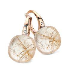 Bigli Mini Sweety Pink Gold Quartz Diamond Earrings 20O61RRUTMPBI