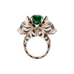Boucheron Animaux de Collection Rose Gold Tourmaline Diamond Ring JRG02686