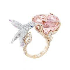 Boucheron Hopi White and Rose Gold Morganite Sapphire Diamond Ring JRG02438