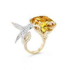 Boucheron Hopi Yellow and White Gold Beryl Sapphire Diamond Ring JRG02854