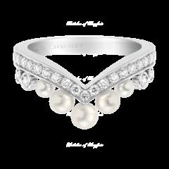083292 Chaumet Josephine Aigrette White Gold Pearl Diamond Ring Size 51