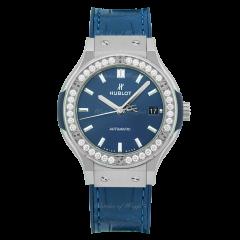 565.NX.7170.LR.1204   Hublot Classic Fusion Blue Titanium Diamonds 38 mm watch. Buy Now