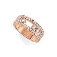 04703   Move Move Joaillerie Pave Small Pink Gold Diamond Ring Size 54