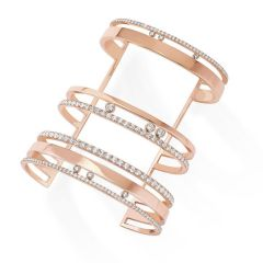 Messika Move Romane Pink Gold Diamond Cuff Bracelet 6590 Size S