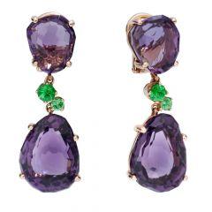 Pomellato Bahia Rose Gold Amethyst Tsavorite Earrings POB0022_O7000_000OI
