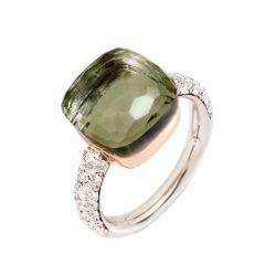 Pomellato Nudo Rose and White Gold Prasiolite Diamond Ring A.B401/B9O6PA